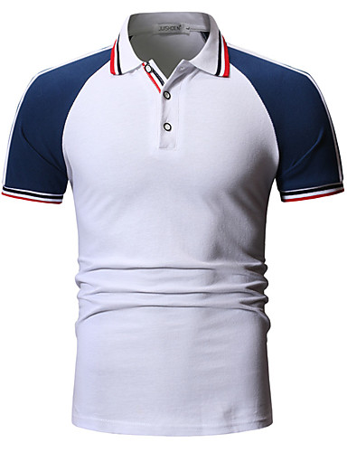cheap Men's Polos-Men's Color Block Patchwork Polo Daily White / Black / Blue / Red / Yellow / Orange / Green / Navy Blue