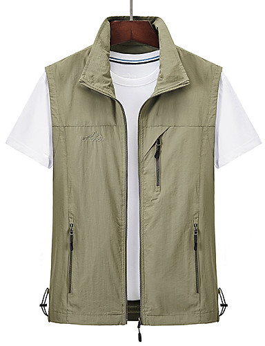 cheap Softshell, Fleece & Hiking Jackets-Men's Hiking Vest / Gilet Summer Outdoor Solid Color Windproof Breathable Quick Dry Multi Pocket Top Camping / Hiking Hunting Fishing Black / Red / Army Green / Grey / Khaki