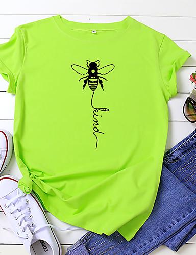 tanie Topy damskie-Damskie T-shirt Litera Pszczoła Nadruk Okrągły dekolt Najfatalniejszy 100% bawełna Podstawowy Lato Wino Biały Żółty