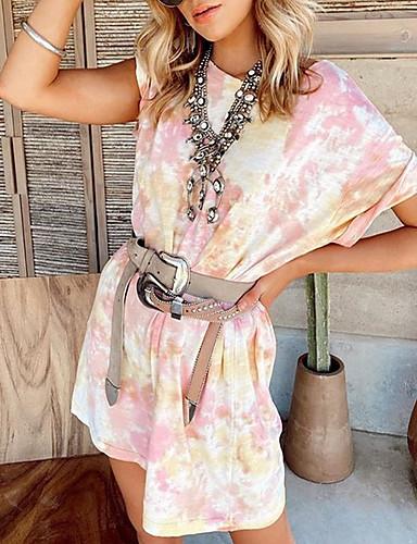 olcso Újdonságok-Női Pólóruha Mini ruha - Rövid ujjú Batikolt Nyár Alkalmi 2020 Arcpír rózsaszín S M L XL