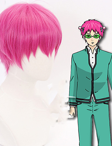 cheap Cosplay Wigs-The Disastrous Life of Saiki K. Saiki Kusuo Cosplay Wigs Men's With Bangs 12 inch Heat Resistant Fiber Straight Pink Adults' Anime Wig