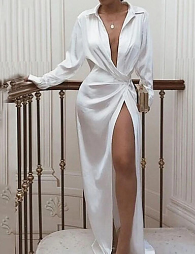 cheap Prom Dresses-Sheath / Column Elegant Sexy Wedding Guest Prom Dress V Neck Long Sleeve Floor Length Satin with Split 2020