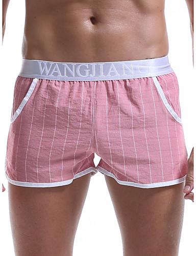 cheap Men's Clothing-Men's Print Boxers Underwear - Normal Low Waist Light Blue Blue Red M L XL