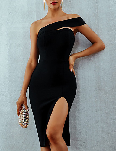 cheap Cocktail Dresses-Back To School Sheath / Column Hot Sexy Homecoming Cocktail Party Dress One Shoulder Sleeveless Knee Length Nylon with Sleek Split 2020 Hoco Dress