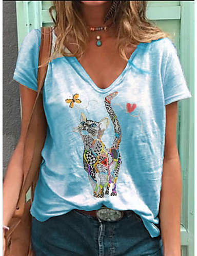 cheap Women's T-shirts-Women's T-shirt Animal Print V Neck Tops Loose Cotton Basic Basic Top White Blue Blushing Pink