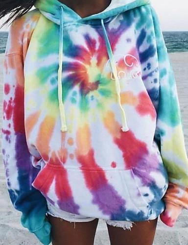baratos Suéter & Cardigans-Mulheres Moletom Tie Dye Básico Solto Arco-íris S M L XL XXL