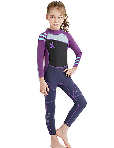 cheap Wetsuits, Diving Suits & Rash Guard Shirts-Dive&Sail Girls' Full Wetsuit 2mm Nylon SCR Neoprene Diving Suit UV Resistant High Elasticity Stretchy Long Sleeve Back Zip Patchwork / UPF50+