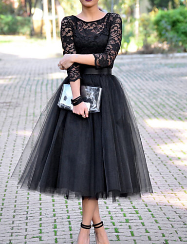 cheap Prom Dresses-A-Line Elegant Vintage Wedding Guest Prom Dress Jewel Neck 3/4 Length Sleeve Ankle Length Tulle with Pleats Lace Insert 2020