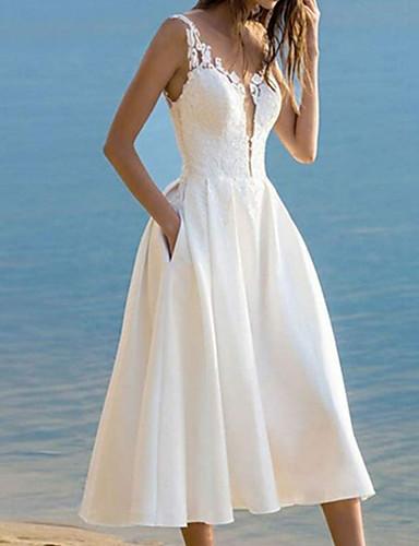 olcso Menyasszonyi ruhák-A-vonalú Esküvői ruhák V-alakú Bokáig érő Csipke Szatén Ujjatlan Régies (Vintage) 1950s val vel 2020