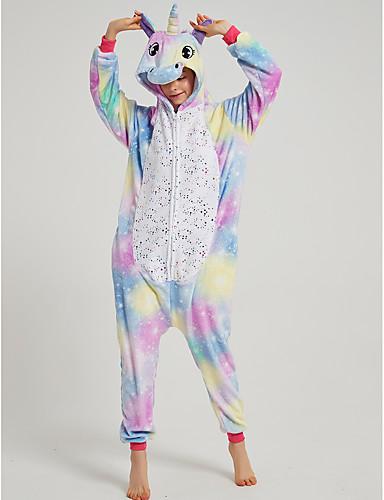 cheap Kigurumi Pajamas-Adults' Kigurumi Pajamas Unicorn Flying Horse Onesie Pajamas Flannel Fabric Purple Cosplay For Men and Women Animal Sleepwear Cartoon Festival / Holiday Costumes / Leotard / Onesie