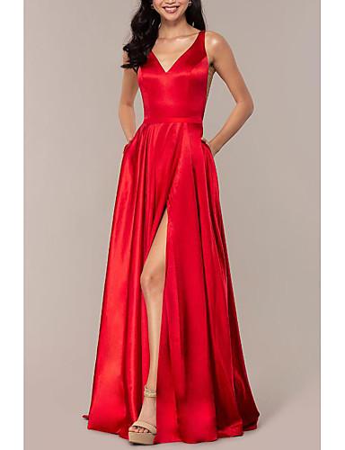 olcso Szalagavató ruhák-A-vonalú Empire Piros Esküvői vendég Diákbál Ruha V-alakú Ujjatlan Seprő uszály Charmeuse val vel Hasított 2020
