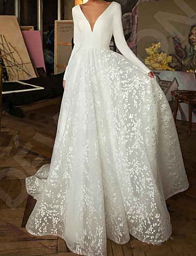 cheap Wedding Dresses-A-Line Wedding Dresses V Neck Sweep / Brush Train Lace Satin Long Sleeve Simple Backless with 2020