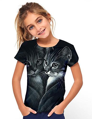 preiswerte Mode für Mädchen-Kinder Mädchen T-Shirt Kurzarm Tier Kinder Oberteile Grundlegend Urlaub Schwarz