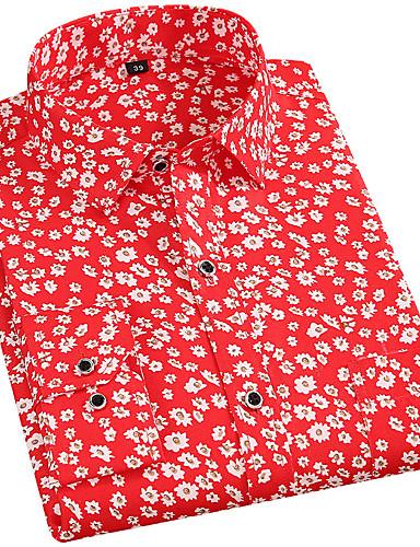 baratos Camisas Masculinas-Homens Camisa Social Floral Blusas Básico Estilo Praia Colarinho Com Botões Preto Vermelho Amarelo / Manga Longa