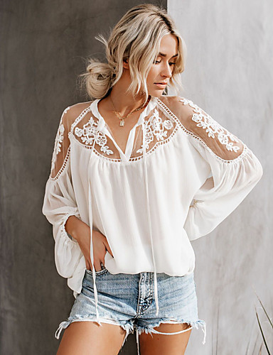 cheap Women's Blouses & Shirts-Women's Blouse Shirt Solid Colored Long Sleeve Lace Lace up Patchwork V Neck Tops Sexy Basic Top White Black