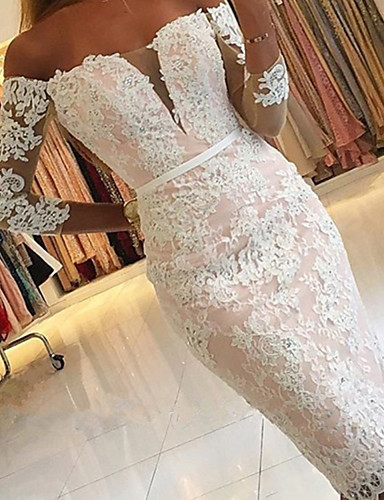cheap Prom Dresses-Mermaid / Trumpet Elegant Floral Engagement Prom Dress Off Shoulder 3/4 Length Sleeve Knee Length Lace with Appliques 2020