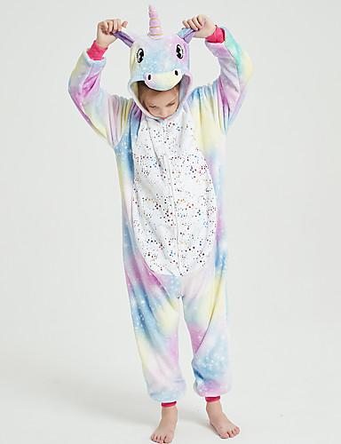 cheap Kigurumi Pajamas-Kid's Kigurumi Pajamas Unicorn Flying Horse Onesie Pajamas Flannel Fabric Light Purple Cosplay For Boys and Girls Animal Sleepwear Cartoon Festival / Holiday Costumes / Leotard / Onesie