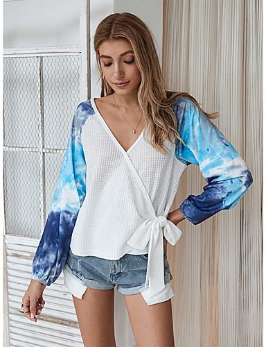preiswerte Für Junge Frauen-Damen Bluse Einfarbig Batik Langarm Druck V-Ausschnitt Oberteile Grundlegend Basic Top Weiß Blau Khaki
