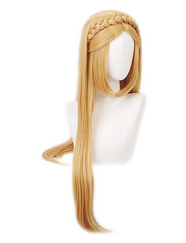 cheap Cosplay Wigs-The Legend of Zelda Princess Zelda Cosplay Wigs Women's Braid 33 inch Heat Resistant Fiber Straight Blonde Adults' Anime Wig