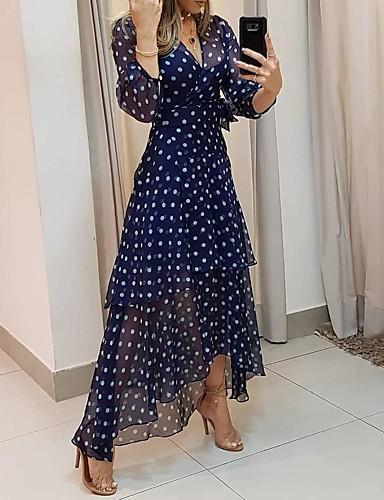 povoljno Male crne haljine-Žene Maks haljina - 3/4 rukava Na točkice Print Ljeto V izrez Ležerne prilike Dnevno Šifon 2020 Navy Plava M L XL XXL XXXL