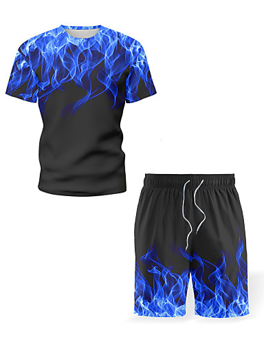 cheap Men's Shirts-Men's Graphic Flame Print Set Beach Street chic Sports Holiday Blue / Purple / Red / Yellow / Green / Gray