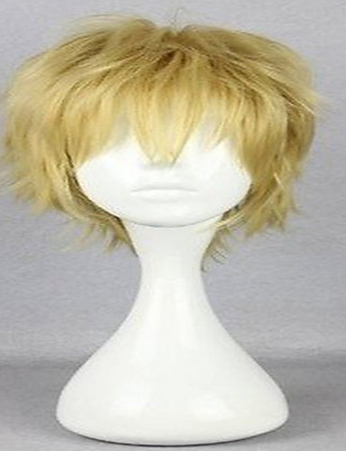 cheap Cosplay Wigs-Ensemble Stars Cosplay Cosplay Wigs Men's Layered Haircut 12 inch Heat Resistant Fiber Curly Blonde Teen Adults' Anime Wig