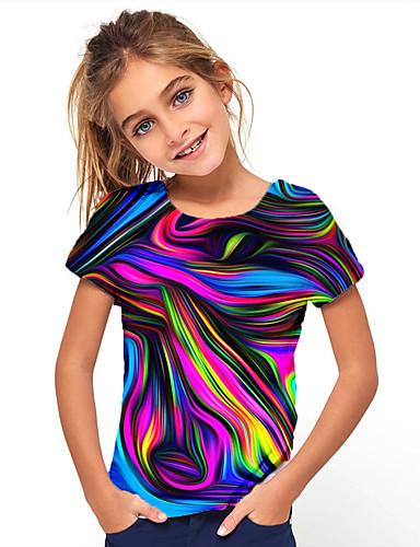 preiswerte Mode für Mädchen-Kinder Mädchen T-Shirt Kurzarm 3D gedruckt Grafik Geometrisch Sportlich Normal Rundhalsausschnitt Kinder Oberteile Grundlegend Modisch Dunkel Blau Marineblau Rose schwarz