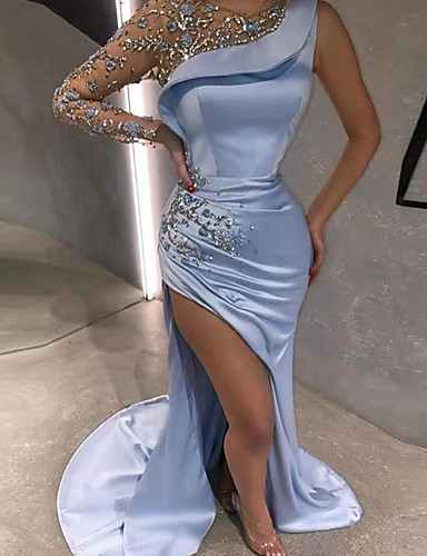cheap Special Occasion Dresses-Mermaid / Trumpet Luxurious Sexy Engagement Formal Evening Dress Illusion Neck Long Sleeve Sweep / Brush Train Satin with Beading Split Appliques 2020