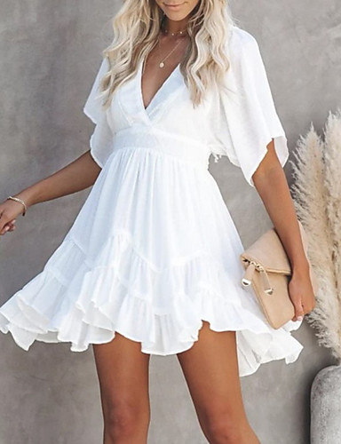 cheap Mini Dresses-Women's Swing Dress Short Mini Dress - Short Sleeve Summer V Neck Casual 2020 White S M L XL XXL XXXL