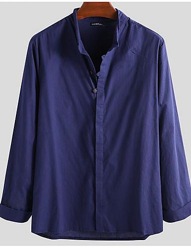 abordables Chemises Homme-Homme Grandes Tailles Chemise Couleur Pleine Hauts Basique Boutonné Sous Patte Bleu Marine / Manches Longues