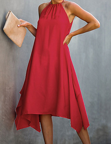 cheap Casual Dresses-Women's A-Line Dress Midi Dress - Sleeveless Solid Color Summer Vintage 2020 Black Red Green S M L XL