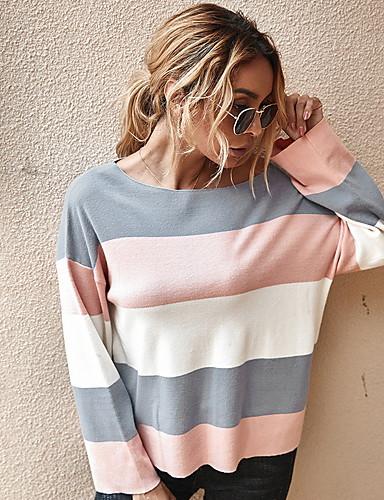 abordables Pour Les Jeunes Femmes-Femme Couleur Pleine Pullover Coton Manches Longues Ample Pull Cardigans Col Rond Automne Noir Gris