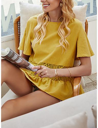 Χαμηλού Κόστους Για νεαρές γυναίκες-Γυναικεία Μπλούζα Μονόχρωμο Πλισέ Patchwork Στρογγυλή Λαιμόκοψη Άριστος Βασική κορυφή Κίτρινο