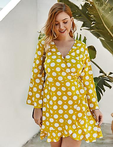 cheap Plus Size Dresses-Women's A-Line Dress Short Mini Dress - Long Sleeve Polka Dot Print Spring Summer V Neck Casual Daily Loose 2020 Black Yellow Royal Blue XL XXL XXXL XXXXL