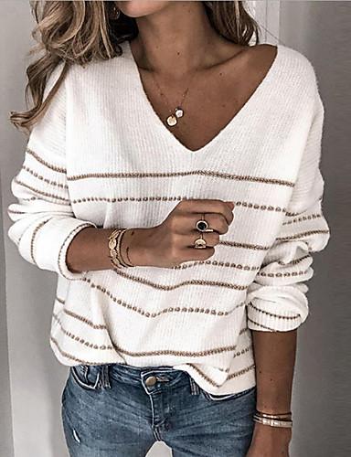 povoljno Ženski džemperi-Žene Osnovni Prugasti uzorak Pullover Dugih rukava Širok kroj Duks džemper V izrez Jesen Zima Obala Crn Blushing Pink