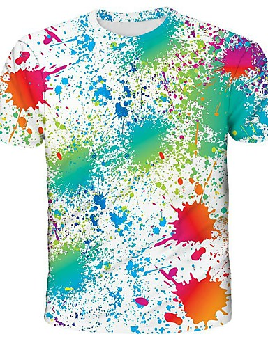 cheap Men's Clothing-Men's Graphic Print T-shirt Street chic Exaggerated Daily Holiday Rainbow