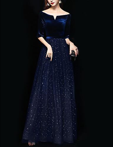 tanie Suknie balowe-Krój A Błyszczące Niebieski Gość weselny Kolacja oficjalna Sukienka Z odsłoniętymi ramionami Rękaw 1/2 Sięgająca podłoża Poliester z Cekin 2020