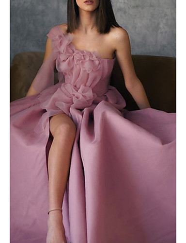 cheap Evening Dresses-A-Line Floral Pink Prom Formal Evening Dress One Shoulder Sleeveless Floor Length Stretch Satin with Appliques Split Front 2020