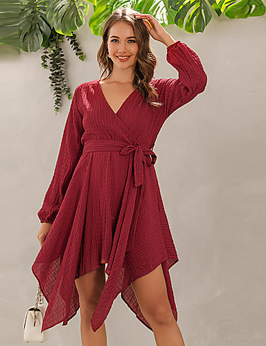 cheap For Young Women-Women's Sheath Dress Knee Length Dress - Long Sleeve Solid Color Fall Vintage Sexy 2020 Wine S M L XL