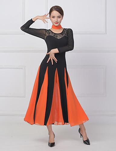cheap Ballroom Dancewear-Ballroom Dance Dress Lace Split Joint Crystals / Rhinestones Women's Training Performance Short Sleeve Lycra Imitation Silk