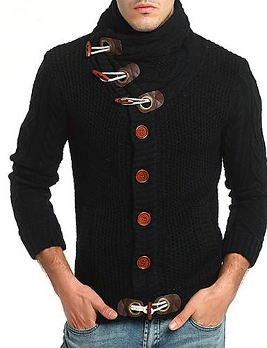 cheap Men's Sweaters & Cardigans-Men's Solid Colored Cardigan Long Sleeve Sweater Cardigans Turtleneck Black Camel Dark Gray