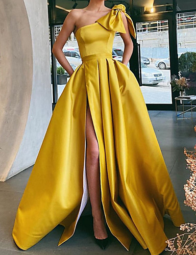 cheap Evening Dresses-A-Line Vintage Sexy Party Wear Formal Evening Dress One Shoulder Sleeveless Sweep / Brush Train Satin with Bow(s) Pleats Split 2020