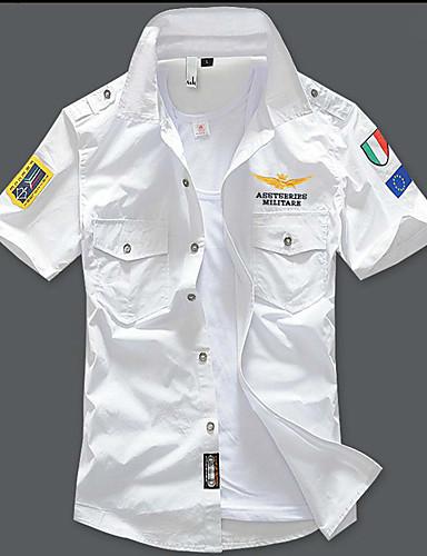 cheap Men's Shirts-Men's Shirt Geometric Slim Tops Street chic Military White Black Blue / Sleeveless