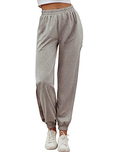 olcso Női nadrágok és szoknyák-Női Alap Napi Bő Pamutszövet nadrág Melegítőnadrágok Nadrág Egyszínű Sport Szürke S M L