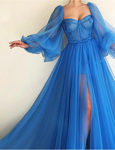 cheap Evening Dresses-A-Line Elegant Luxurious Engagement Formal Evening Dress Scoop Neck Long Sleeve Sweep / Brush Train Tulle with Pleats Split 2020