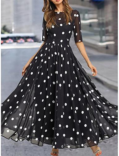 preiswerte Bedruckte Kleider-Damen Kleider aus Chiffon Maxikleid - Halbe Ärmel Punkt Sommer Freizeit Alltag 2020 Schwarz M L XL XXL XXXL