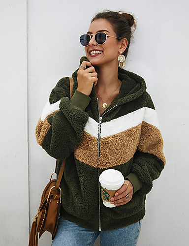 cheap Women's Outerwear-Women's Teddy Coat Regular Color Block Daily Basic Army Green S M L / Loose