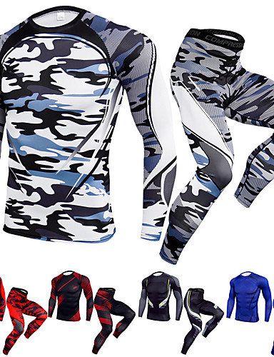 cheap Compression Clothing-JACK CORDEE Men's 2-Piece Activewear Set Workout Outfits Athletic Quick Dry Fitness Gym Workout Basketball Running Sportswear Camo Clothing Suit Black / Red White Black Yellow Burgundy Blue Activewear