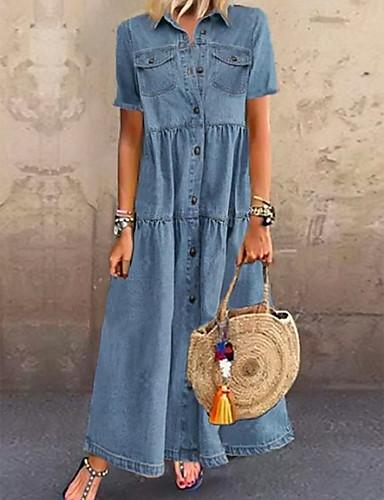 cheap Summer Dresses-Women's Denim Shirt Dress Maxi long Dress - Short Sleeve Summer Casual Vacation 100% Cotton 2020 Light Blue S M L XL XXL XXXL
