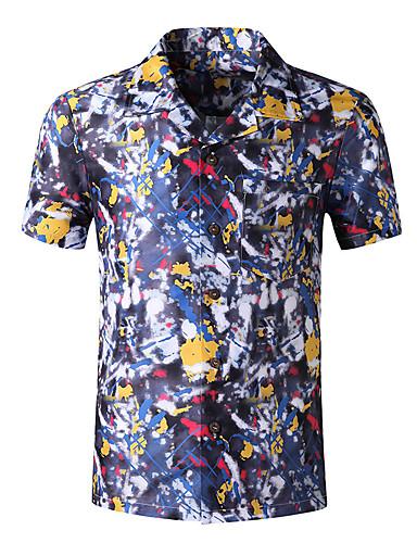 cheap Men's Shirts-Men's Plus Size Shirt Graphic Tops Business Basic Button Down Collar Royal Blue Brown Navy Blue / Short Sleeve / Work